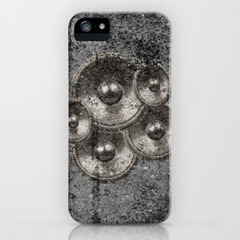 Music speakers on a concrete wall iPhone Case
