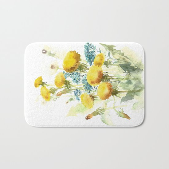 Watercolor flowers of blowball and forget-me-not Bath Mat