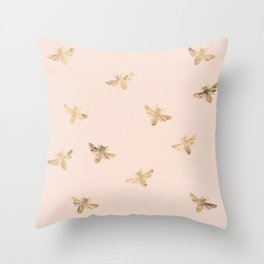 Busy Bees (Pink) Throw Pillow