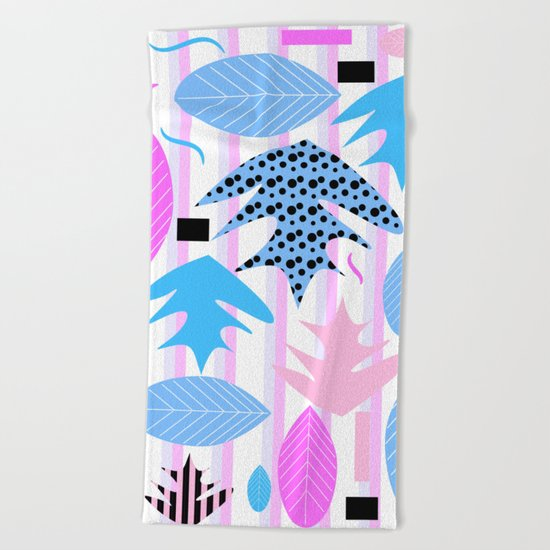 Leaf mix in pink and blue Beach Towel