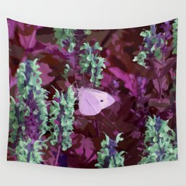 Pink Moth on Green Sage Flowers Painted Photograph Wall Tapestry