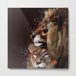 digital art lion cub portrait Metal Print