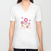 mod V-neck T-shirts featuring MOD GARDEN by Daisy Beatrice