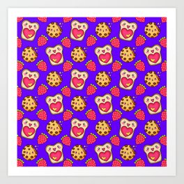 Cute funny sweet adorable happy Kawaii toast with raspberry jam and butter, chocolate chip cookies, red ripe summer strawberries cartoon fantasy purple pink pattern design Art Print