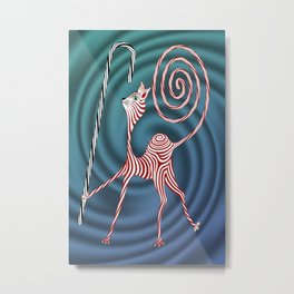 Peppermint Kitty Cane Metal Print