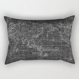 Black and White World Map (1799) Inverse Rectangular Pillow
