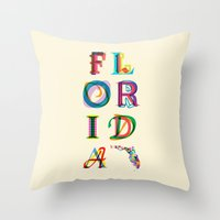florida Throw Pillows featuring Florida by Fimbis