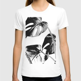Black monstera leaves watercolor T-shirt