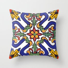 Talavera Royal Blue Green Red  Throw Pillow