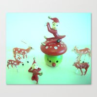 pixies Canvas Prints featuring Vintage pixies and deer by Vintage  Cuteness