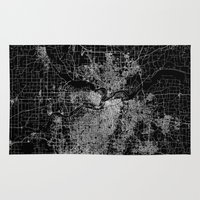 kansas Area & Throw Rugs featuring Kansas City map by Line Line Lines