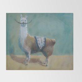 Dali Llama Funny Mustache Melted Clock Salvador Dadaism Throw Blanket