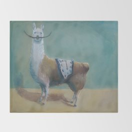 Dali Llama Funny Mustache Melted Clock Salvador Dadaism Throw Blanket