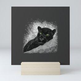 Black panther on a branch - Grey Mini Art Print