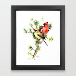 Cardinal Birds on Pine Tree Framed Art Print