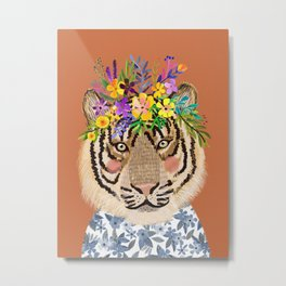 Tiger with Floral Crown Art Print, Funny Decoration Gift, Cute Room Decor Metal Print