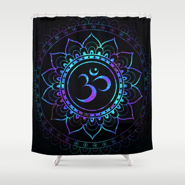 Om Mandala: Colorful Galaxy Shower Curtain