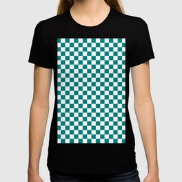 White and Teal Green Checkerboard T-shirt