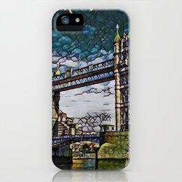 Uk Bridge Artistic Illustration Broken Green Glass Style iPhone Case