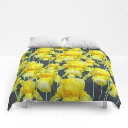CHARCOAL GREY YELLOW IRIS GARDEN ABSTRACT Comforters