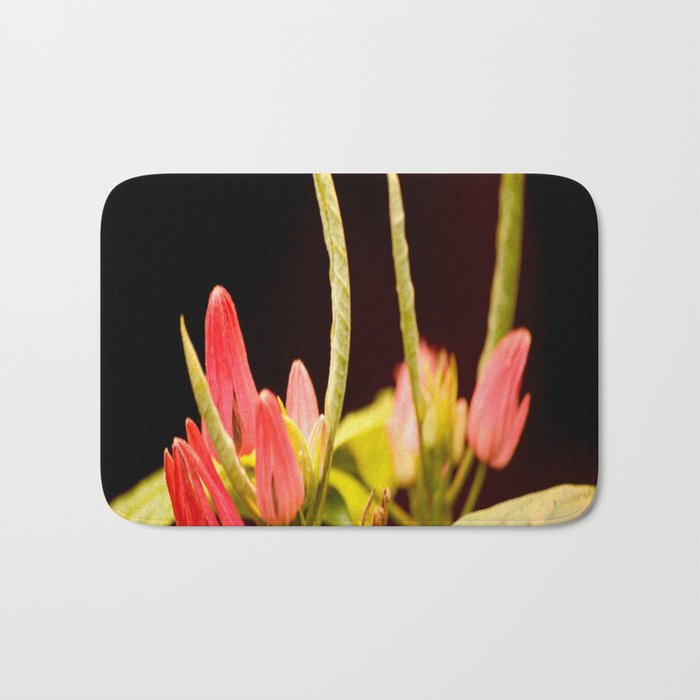 Exotic Colorful Flowers On A Black Background #decor #society6 Bath Mat
