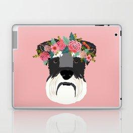 Schnauzer floral crown dog breed pet art schnauzers cute pure breed gifts Laptop & iPad Skin