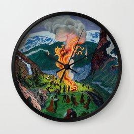 Astrup Nikolai (1880-1928) Midsummer Night Bonfire Wall Clock