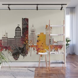 Detroit City Skyline Wall Mural