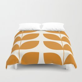 Mid Century Modern Leaves Orange Duvet Cover