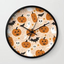 Pumpkin Party on Beige Wall Clock