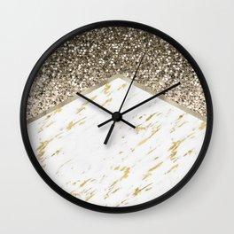 Shimmering mixed golds chevron Wall Clock