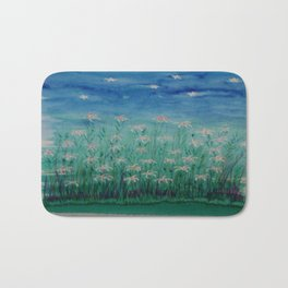 Evening Flowers Blue Bath Mat