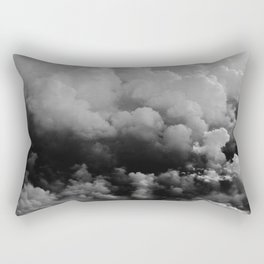 White fluffy Clouds Black And White photo Rectangular Pillow
