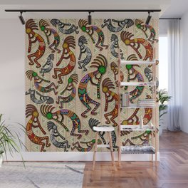 Kokopelli Rainbow Colors on Tribal Pattern  Wall Mural