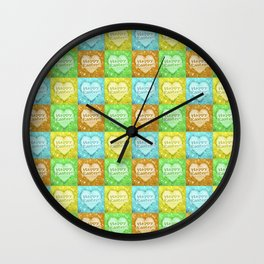 Colorful Happy Easter Theme Pattern Wall Clock
