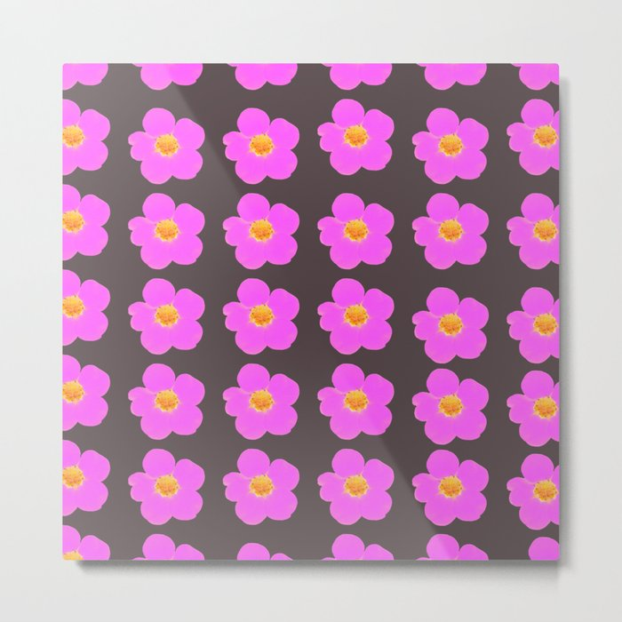 Tiny pink retro flowers on a dark grey background - #Society6 #buyart Metal Print