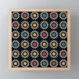 White daisies pattern Framed Mini Art Print