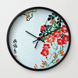 Red Trumpet Flowers Wall Clock