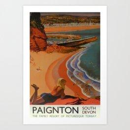 Paignton South Devon Vintage Travel Poster Art Print