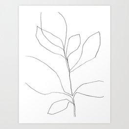 Seven Leaf Plant - Minimalist Botanical Line Drawing Art Print