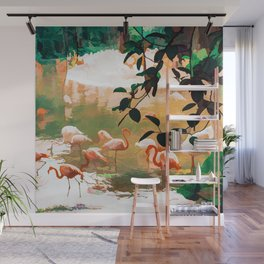 Flamingo Sighting #painting #wildlife Wall Mural