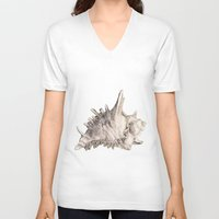 shell V-neck T-shirts featuring Shell by RasaOm
