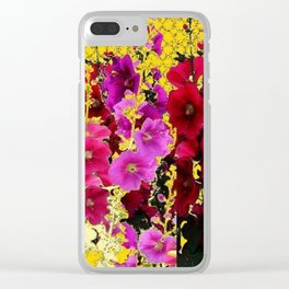 DECORATIVE  PINK & RED HOLLYHOCKS YELLOW GARDEN Clear iPhone Case