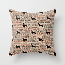 Rottweiler silhouette and word art pattern Throw Pillow