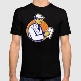 Technician Inspector Worker Clipboard Retro T-shirt