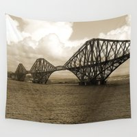 scotland Wall Tapestries featuring Forth Bridge, Scotland, in Sepia by Phil Smyth