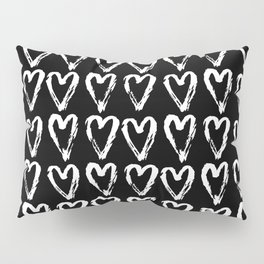 Black & White-Love Heart Pattern- Mix & Match with Simplicty of life Pillow Sham