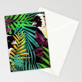Tropical birds and green leaves Stationery Cards