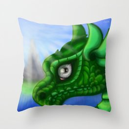 Dragon Portrait (Green) Throw Pillow