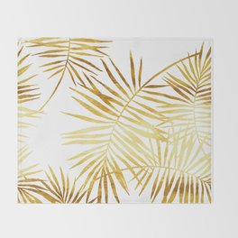 Tropical Palm Fronds in Gold Throw Blanket